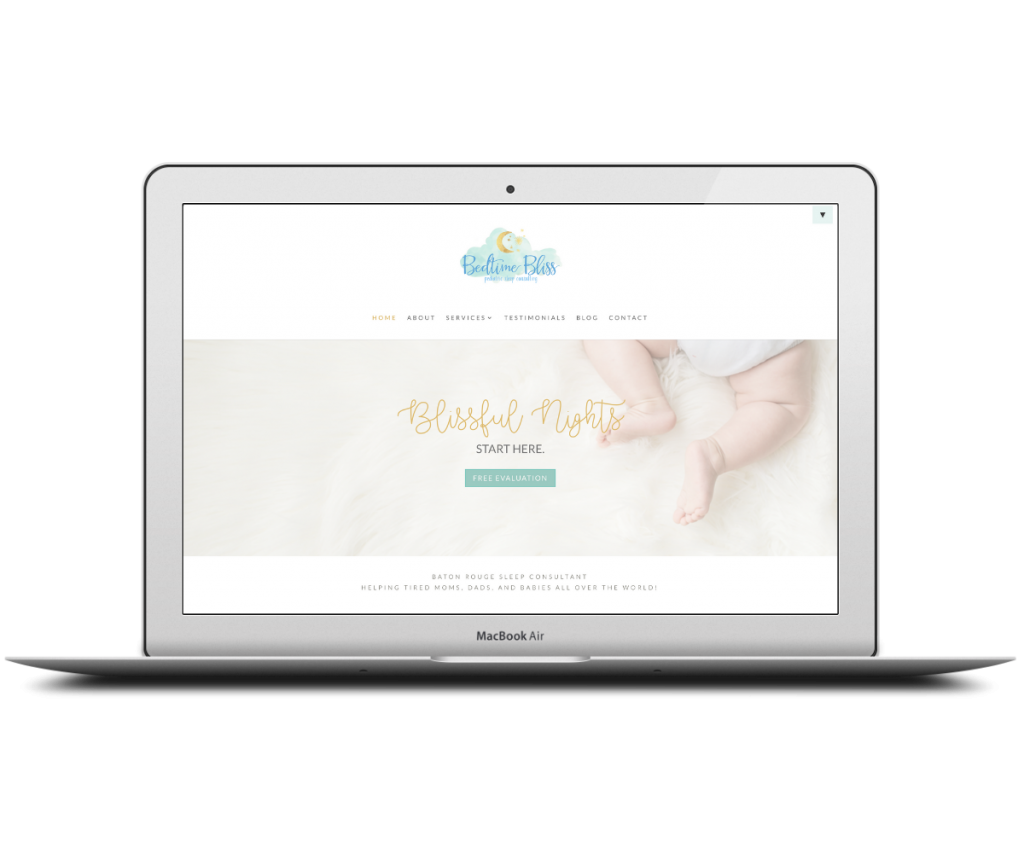 Bedtime Bliss homepage - Capstone Digital Marketing