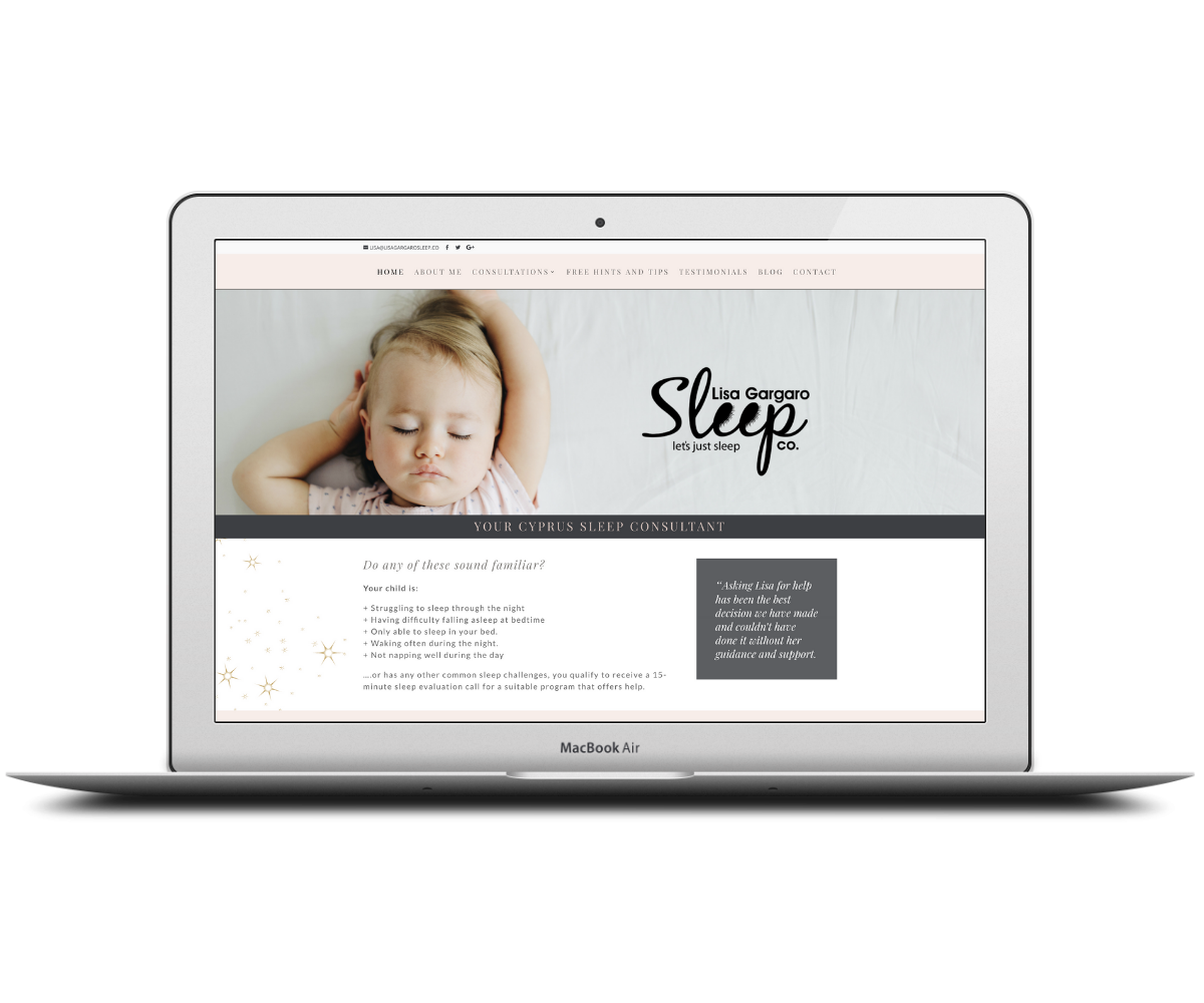 Lisa Gargaro Sleep Co. homepage - Capstone Digital Marketing