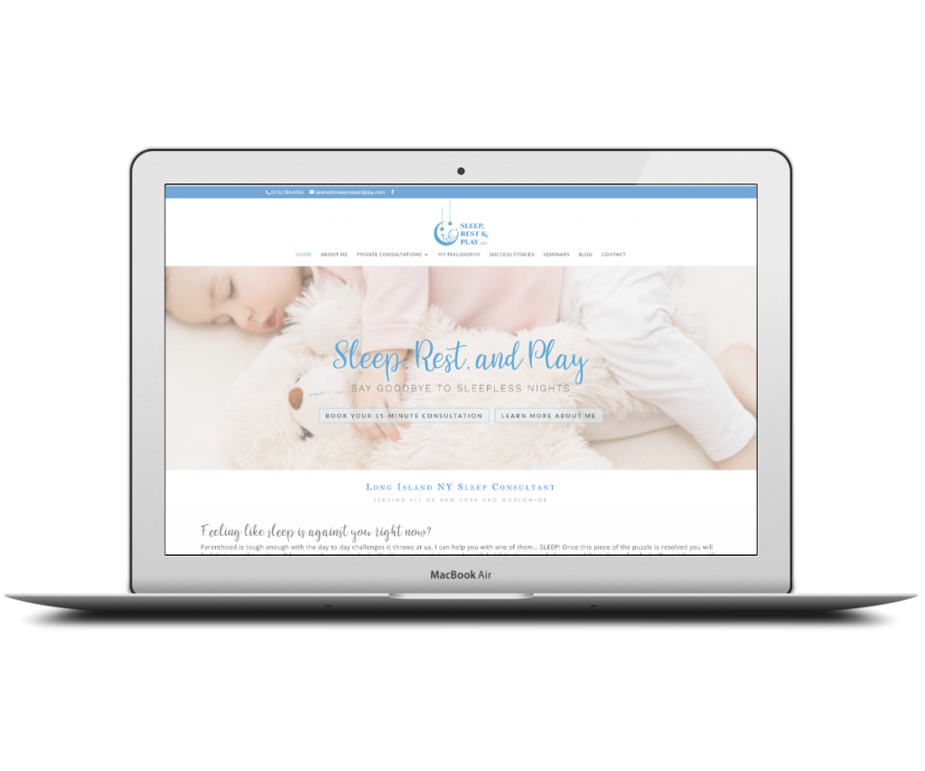 Sleep Rest and Play homepage - Capstone Digital Marketing